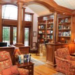 Library - Walnut Study Library Mantle Bookcases and Architectural Millwork 2015 Moorestown NJ